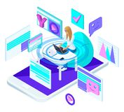 Isometric young girl with laptop, is blogging on the social network and recording video. Bright, colorful advertising concept royalty free illustration