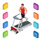 Isometric young man in sportswear running on treadmill at gym. Fitness and Health icons. Running machine or track. Isolated on white background Stock Photo