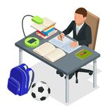 Isometric young people and student concept.. Isometric young people and student concept. A boy of 6-8 years old the student sits at the table and writes Royalty Free Stock Photo