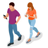 Isometric young people, teenagers and students with phone Young man phoning smart phone with messenger app. Flat. Illustration of people using gadgets walking stock illustration