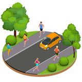 Isometric young woman and man runners running on a city park. Sportive people training in an urban area, healthy. Lifestyle and sports concepts. Summer. Vector Stock Images