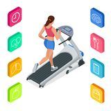 Isometric young woman in sportswear running on treadmill at gym. Fitness and Health icons. Running machine or track. Isolated on white background Royalty Free Stock Photo