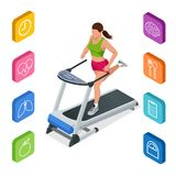 Isometric young woman in sportswear running on treadmill at gym. Fitness and Health icons. Running machine or track. Isolated on white background Stock Photos