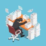 Isometric zmęczony biznesmen uśpiony przy biurowym biurkiem z stosem royalty ilustracja