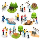 Isometric Zoo Elements Collection. With different animals families children and zookeepers isolated vector illustration Royalty Free Stock Photography