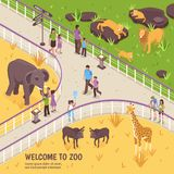 Welcome To Zoo Composition. Isometric zoo illustration with outdoor zoological garden scenery fence and images of african animals and people vector illustration Royalty Free Stock Photos