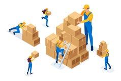 Isometrico il lavoro dei motori nel magazzino, disponendo le scatole, raccoglienti le merci Concetto per web design illustrazione di stock