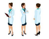 Isometrics работников женщины медицинских, доктор, хирург, медсестра, красивая в медицинских мантиях во время работы бесплатная иллюстрация