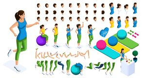 Isometrics create your athlete, set of emotions, hand gestures, leg movements, jogging, sports, fitness. create your character. Isometrics create your athlete, a vector illustration