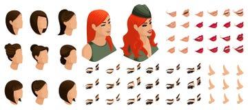 Isometrics cria seus emoções e penteados para a menina ruivo no uniforme militar 3D penteados, caras, olhos, bordos, nariz ilustração royalty free