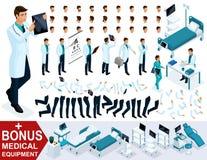 Isometrics dla tworzyć twój 3D charakteru lekarkę, chirurgów sety gesty cieki i ręk emocje, Premiowy sprzęt medyczny royalty ilustracja