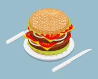 Isometrics do Hamburger fast food 3D na placa Forquilha e kn da cutelaria Imagens de Stock Royalty Free