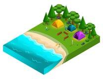 Isometrics du camping, récréation des jeunes de la génération Z sur la nature, forêt, mer, plage illustration libre de droits