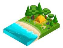 Isometrics du camping, récréation des jeunes de la génération Z sur la nature, forêt, mer, plage, rivage du lac illustration de vecteur