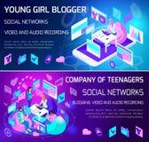 Isometrics jest jaskrawymi sztandarami, blogging pojęcia, 3D nastolatkowie jest planujący tematy dla komunikaci i tworzący, brain ilustracja wektor
