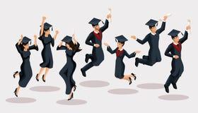 Isometrics kandidatflickor och pojkar, hoppet, akademiska ämbetsdräkter, hattar, jublar, diplom, kandidater Uppsättning av roliga stock illustrationer