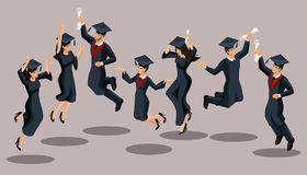 Isometrics kandidatflickor och pojkar, hoppet, akademiska ämbetsdräkter, hattar, jublar, diplom Uppsättning av roliga tecken royaltyfri illustrationer