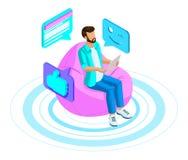 Isometrics mężczyzna komunikuje w gadce w nowożytnej ogólnospołecznej sieci, utrzymuje korespondencję, ogląda wideo przez laptopu ilustracji