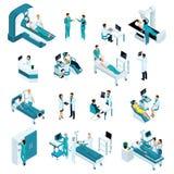 Isometrics medicin, kvalitets- folk Återuppväckande doktorer, medicinska arbetare Inkluderar operationsbordet, röntgenstrålebildl stock illustrationer