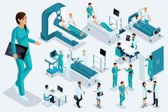 Isometrics medycyna, Żeńska pielęgniarka, wielka postać, medyczny aparat, diagnoza, traktowanie, ampuła ustawiająca sprzęt medycz ilustracji