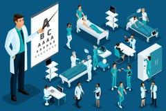 Isometrics medycyna, lekarka, oftalmolog, Wielki chirurg, urządzenia medyczne, diagnoza, traktowanie, Wielki Ustawiający sprzęt m ilustracji
