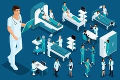 Isometrics medycyna, lekarka, sanitariusz, wielki chirurg, urządzenia medyczne, diagnostycy, traktowanie, ampuła ustawiająca sprz ilustracji