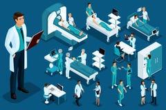 Isometrics medycyna, lekarka z historii chorobą, wielki chirurg, urządzenia medyczne, diagnostycy, ampuła ustawiająca sprzęt medy royalty ilustracja