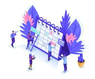 Isometrics people work together web industry. Little people make an online schedule. Design business graphics tasks scheduling. On a week, isolated background stock illustration