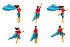 Isometrics A set dziewczyny w kostiumu, biega, skoki, pośpiechy ratunek, 3D super, bohaterzy, ratownicy również zwrócić corel ilu ilustracji