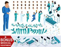 Isometrics tworzy twój charakter lekarkę, chirurga, setów gesty nogi i ręk, emocje Premiowy sprzęt medyczny royalty ilustracja