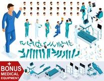 Isometrics tworzy twój charakter lekarkę, sanitariusza, chirurgów setów gesty nogi i ręk, emocje Premiowy sprzęt medyczny ilustracji