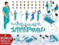 Isometrics tworzy twój charakter lekarkę, sanitariusza, setów gesty nogi i ręk, emocje Premiowy sprzęt medyczny royalty ilustracja