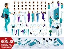 Isometrics tworzy twój pielęgniarka charakteru, setu ręki, cieków, gestów, emocj i charakterów, Premiowy sprzęt medyczny ilustracji