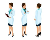 Isometrics of a woman medical workers, a doctor, a surgeon, a nurse, beautiful in medical gowns during work royalty free illustration