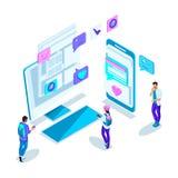 Isometricsjongeren, mededeling over Internet met verschillende mensen, correspondentie, kennis door Internet stock illustratie