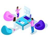 Isometricsstudenten, bespreking, online tijdschema, correspondentie, jongeren Helder modern holografisch ontwerp vector illustratie