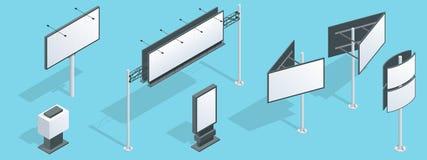 Isometrisch aanplakbord Reeks verschillende perspectieven die bouw voor openlucht reclame groot aanplakbord adverteren stock illustratie