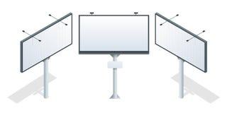 Isometrisch aanplakbord Verschillende perspectieven die bouw voor openlucht reclame groot aanplakbord adverteren op achtergrond royalty-vrije illustratie