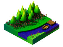 Isometrisch aard en landschap Royalty-vrije Stock Afbeelding
