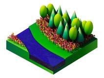 Isometrisch aard en landschap Stock Afbeelding