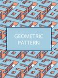 Isometrisch abstract stads vector naadloos patroon Royalty-vrije Stock Afbeelding