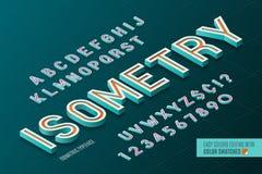 Isometrisch Alfabet 3d letters en getallen Royalty-vrije Illustratie