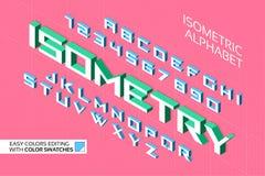 Isometrisch Alfabet 3d letters en getallen Stock Illustratie