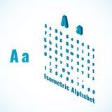 Isometrisch alfabet en doopvont, kleine en grote van het brievenontwerp element Royalty-vrije Stock Afbeelding