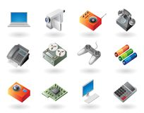 Isometrisch-Art Ikonen für Elektronik Stockfotos