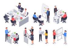 Isometrisch bedrijfsbureauteam Collectieve groepswerkvergadering, werknemerswerkplaats en 3D vectorillustratie van het mensenwerk stock illustratie