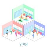 Isometrisch binnenland van yogaklasse de mensen doen yoga vector illustratie