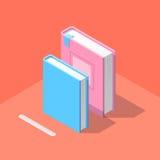 Isometrisch boekpictogram in vlakke ontwerpstijl Royalty-vrije Stock Afbeeldingen