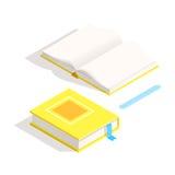 Isometrisch boekpictogram in vlakke ontwerpstijl Stock Fotografie