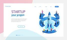 Isometrisch Businnes-Opstarten voor webpagina, banner, presentatie, het sociale media ontwerp van het conceptenlandingspagina Ink royalty-vrije illustratie